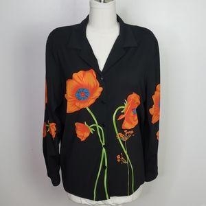 Black Button Up  Blouse with Orange Poppy, Size 18